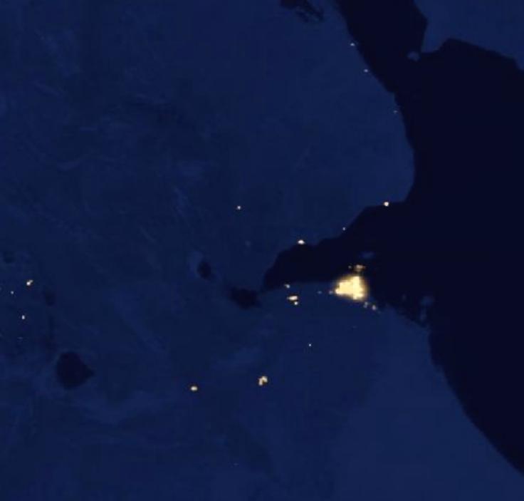 Satellite images of Djibouti during the night