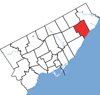 Scarborough—Guildwood - Scarborough—Guildwood in relation to the other Toronto ridings (2013 boundaries)