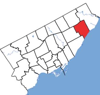 Scarborough—Guildwood (provincial electoral district) - Scarborough—Guildwood in relation to the other Toronto ridings