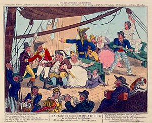 Hoy (boat) - A Scene on board a Margate Hoy as described by Dibden (caricature), 1804, National Maritime Museum, Greenwich