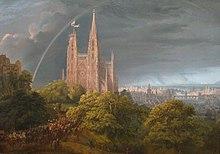 Gemälde von Karl Friedrich Schinkel Mittelalterliche Stadt am Fluss 1815, Nationalgalerie Berlin (Quelle: Wikimedia)
