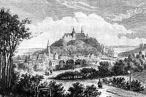 Plön Castle - The town and castle of Plön on an 1864 engraving