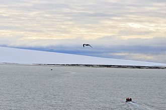 Severnaya Zemlya - View of Schmidt Island with its ice cap.