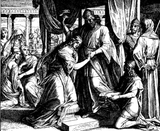 Hypergamy - Esther is crowned in this 1860 woodcut by Julius Schnorr von Karolsfeld.
