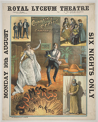 Arthur Wing Pinero - Poster from Pinero's play The Schoolmistress at the Royal Lyceum Theatre, Edinburgh in 1886