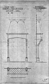 schoorsteen begane grond, (herstellingswerken) (1907, kamer 5) 1921, blauwdruk tekening van cuypers - apeldoorn - 20023683 - rce