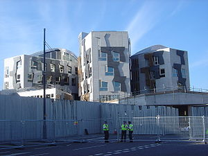 31st G8 summit - The area surrounding Holyrood Palace and the Scottish Parliament was cordoned off by double fences.