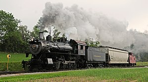 Norfolk and Western Railway 475 - Strasburg No. 475 pulling a one car freight at Cherry Hill Rd., 2013