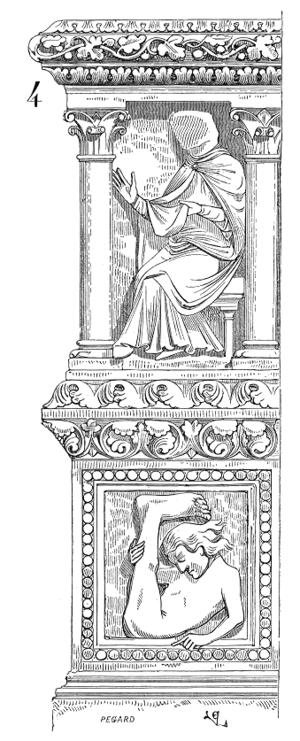 Monopod (creature) - A stone image of a monopod (bottom), from the Cathédrale Saint-Étienne de Sens