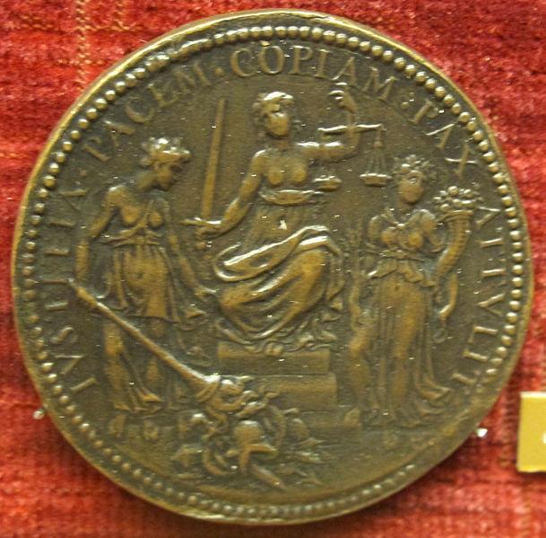 File:Scuola romana, medaglia di gregorio XIII, giustizia tra abbondanza e pace.JPG