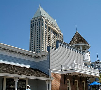 Seaport Village - A storefront in Seaport Village, with a downtown hotel in the background