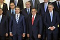 Secretary of Defense Leon E. Panetta, center, stands for a group photo with other NATO defense ministers while attending two days of meetings with them at NATO headquarters in Brussels, Belgium.jpg