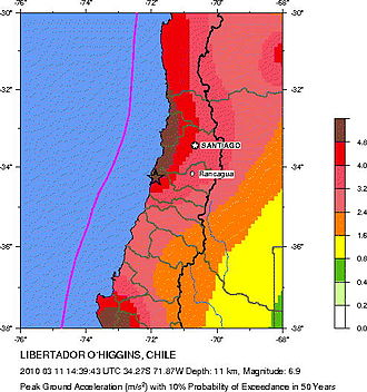 2010 Pichilemu earthquake - Seismic hazard near the epicentre of the earthquake.