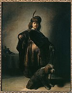 Self-portrait in oriental attire with poodle, by Rembrandt van Rijn.jpg