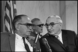 Wayne Morse - Senator Morse (right) seated with Senator J. William Fulbright during a hearing of the Senate Foreign Relations Committee about the progress of the Vietnam War in 1966