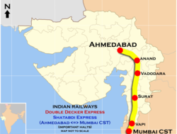 Shatabdi Express and Double Decker Express (Mumbai - Ahmadabad) Route map.png