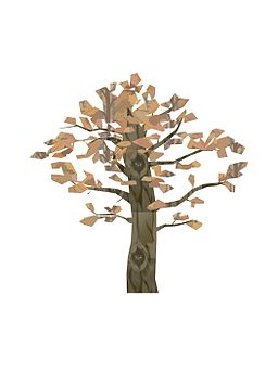 Computer generated image of tree with trown trunk with owl in the trunk's hole and with light brown leaves.