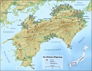 Shikoku Pilgrimage - Map of the 88 temples along the Shikoku Pilgrimage