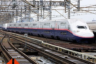 E4 Series Shinkansen - A pair of E4 series sets led by set P6 at Ōmiya Station in May 2017