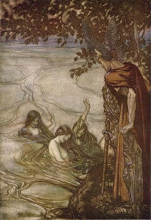 "Neck (water spirit) - ""The Rhine Maidens Warn Siegfried"" (1912) by Arthur Rackham"