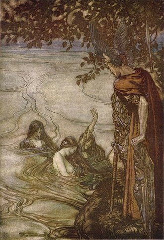 "Götterdämmerung - ""The Rhinemaidens warn Siegfried"", by Arthur Rackham (1912)"