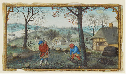 Woodcutting, miniature from a set of Labours of the Months by Simon Bening, c. 1550 Simon Bening (Flemish - Gathering Twigs - Google Art Project.jpg