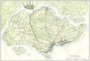 Positionen alliierter Truppen auf Singapur, Februar 1942