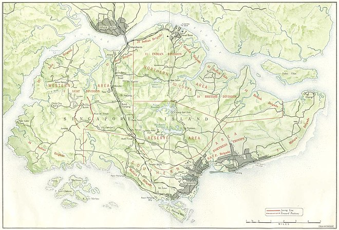 "Singapore in early February 1942; the disposition of Allied ground forces is in red. The main north-south transport corridor, formed by Woodlands Road and the railway, connecting the city centre (in the south-east) and The Causeway (central north), is the black line running through the centre of the island. Sarimbun is at the north-west corner of the island; Bukit Timah is located close to the centre on the transport corridor; Pasir Panjang is between the city centre and the southwest corner of the island and the ""Jurong Line"" is the bracket-like shape in red, just west of Woodlands Road. Singapore map 1942.jpg"