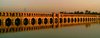 Bridge - The Siosepol bridge over Zayandeh River is an example of Safavid dynasty (1502–1722) bridge design. Esfahan, Iran
