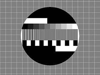 RÚV (TV channel) - Early Sjónvarpið test card. The words Ríkisútvarpið Sjónvarp would occasionally appear in the top and bottom black segments respectively.