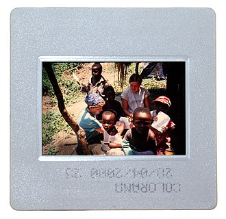 Reversal film - A single slide, showing a color transparency in a plastic frame