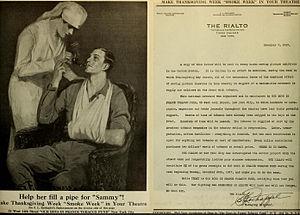 Samuel Roxy Rothafel - Smoke week (1917), letter by Rothafel