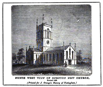 St. Stephen's Church, Sneinton - The church from The History and Antiquities of Nottingham by James Orange, 1840
