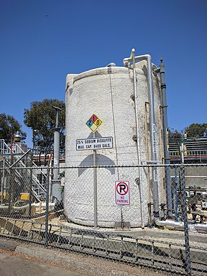 Sodium bisulfite - A tank containing 25% sodium bisulfite at a water treatment plant in Sunnyvale, California.