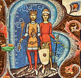 David of Hungary - King Solomon with his brother David (Chronicon Pictum)