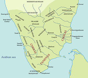 Sangam period - Tamilakam, located in the tip of South India during the Sangam Period, ruled by Chera dynasty, Chola dynasty and the Pandyan dynasty.
