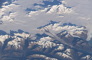 Ice field extensive area of interconnected valley glaciers