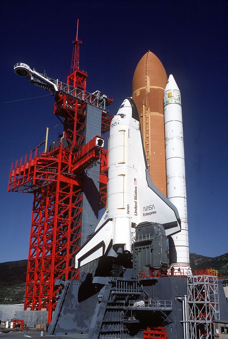 Space Shuttle Enterprise in launch configuration