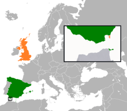 Map indicating locations of Spain and United Kingdom