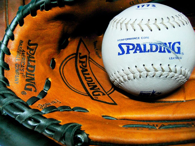 Spalding ball and glove
