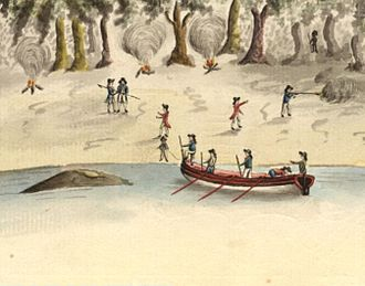 Australian frontier wars - Detail of an artwork by the Port Jackson Painter that shows the spearing of Arthur Phillip, 1790