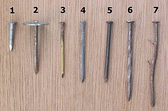 "Nail (fastener) - Different types of nails: 1) roofing, 2) umbrella head roofing, 3) brass escutcheon pin, 4) finish, 5) concrete, 6) spiral-shank, and 7) ring-shank (a used, bent ""gun"" nail, with barbs left over from the tool's feed system)"