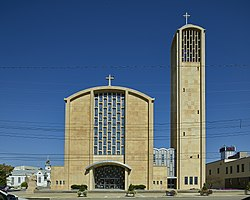 St. Columba Catholic Cathedral in Youngstown, Ohio, which houses the seat of the Diocese of Youngstown.jpg
