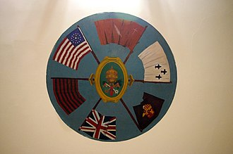 Roman Catholic Archdiocese of Indianapolis - Fresco in the St. Francis Xavier Basilica undercroft showing the national flags under which the Diocese of Vincennes existed