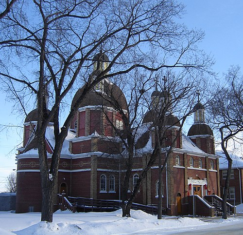 St George's Ukrainian Greek Catholic Church built by architect The Very Reverend Philip Ruh, O.M.I. in 1923. Protected Heritage site, Saskatoon, Saskatchewan St Georges.jpg