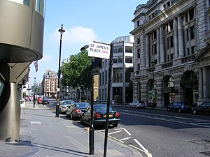 St James's Place - St James's Street and sign for St James's Place.