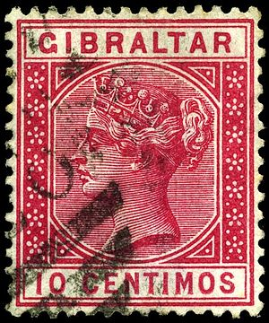 Postage stamps and postal history of Gibraltar - Gibraltar ten centimos Queen Victoria stamp of 1889 (note the use of Spanish currency on a British stamp).
