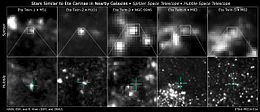 Array of images of ten stars similar to Eta Carinae in nearby galaxies