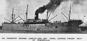 Houlder Line - The first of four Houlder ships to be called Oswestry Grange. This one was a refrigerated cargo ship built in 1902 and sold in 1912