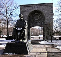 Statue of Nikola Tesla in Niagara Falls State Park on Goat Island, New York; There is another statue with Tesla standing in Queen Victoria Park on the Canadian side of Niagara Falls.